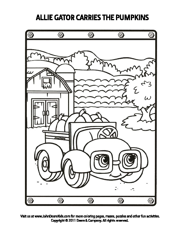 right click on the image to print - John Deere Combine Coloring Pages